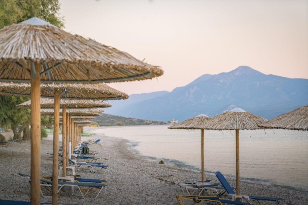 A summer sunset over the beach at the Zefiros Beach Hotel in Samos, Greece