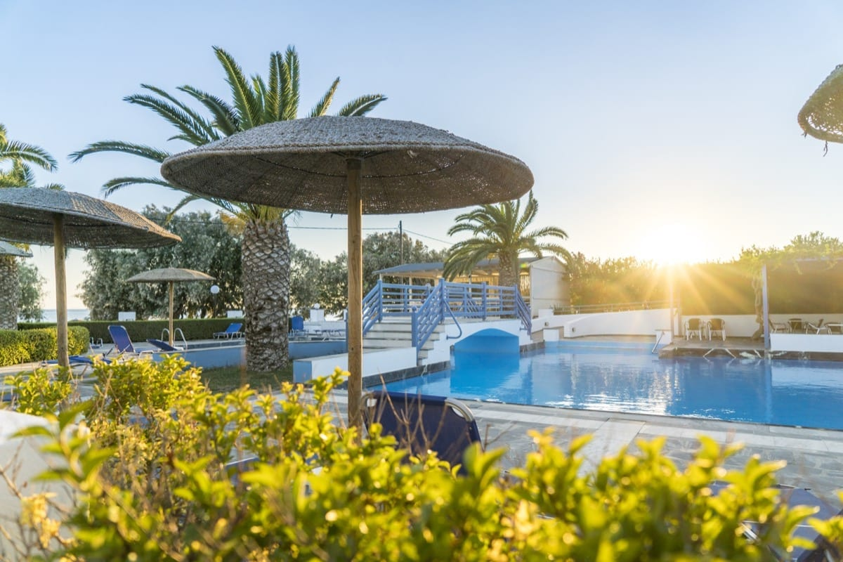 Sunset over the pool in Samos
