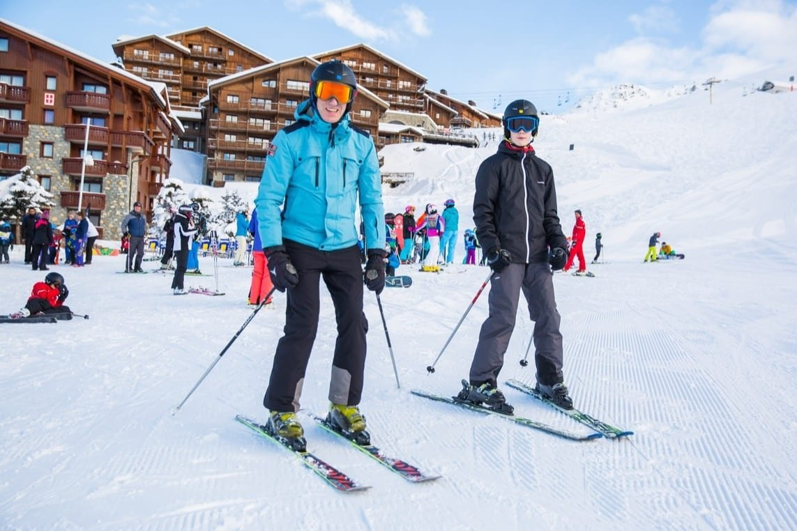 Beginner Skiers trying out the slopes in Les Menuires, The Three Valleys, France