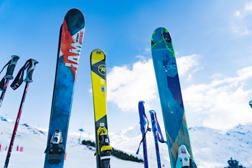 Skis with a backdrop of snowy mountains in the Three Valleys